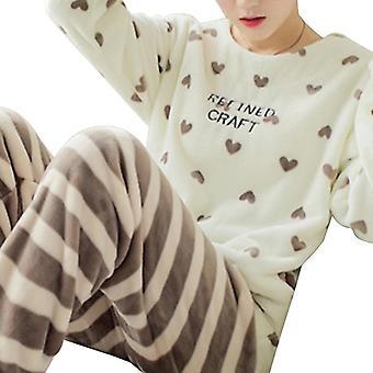 Pyjama d'hiver Sleepwear Cute Cartoon Flannel Set Velvet Warm Round Neck