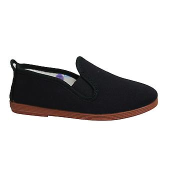 الخيط نمط بامبلونا أطفال Espadrille زلة على أحذية Plimsolls 55 الأسود