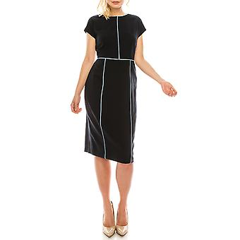 Cap Sleeve Dress With Piping Detail
