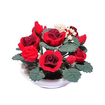 Dolls House Rose Rosse Fiore Display In Round White Bowl Table Centre Accessorio