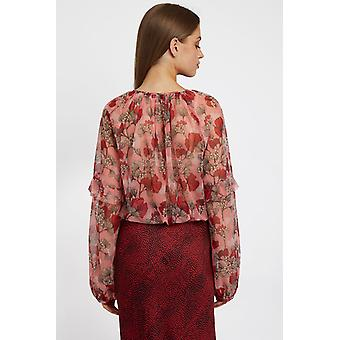 Louche Womens Alba hibiscus floral print sheer blouse Pink