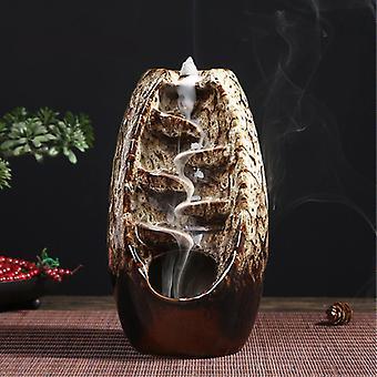 Minideal Aromatherapy زخرفة البخور الموقد الشلال التدفق الخلفي - عودة البخور الموقد فنغ شوي ديكور زخرفة الأبيض