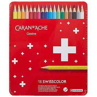 Caran d'ache swisscolor color pencils in metal box (pack of 18) 1 multi