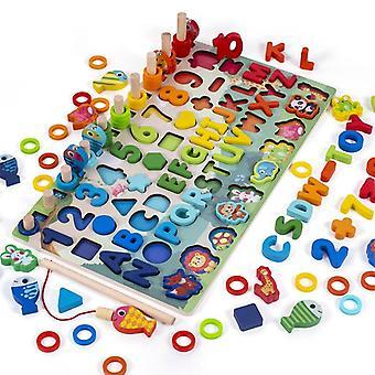 Giocattolo in legno Montessori, tavola trafficata, blocchi di corrispondenza della forma digitale magnetica