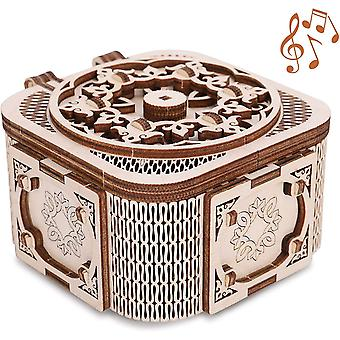 GuDoQi Treasure Box with Music, Mechanical Model Kit, 3D Wooden Puzzle for Teens Adults to Build
