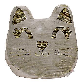 Sequin Cat Cushion, 30cm