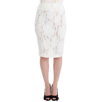 White silk straight knee-length pencil skirt