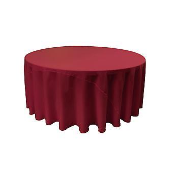La Leinen Polyester Poplin Tischdecke 132-Zoll rund, Cranberry
