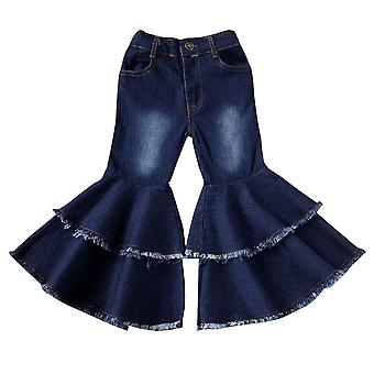 Child Denim Pants Stretch Elastic Jeans Bell Bottom Harem Pants