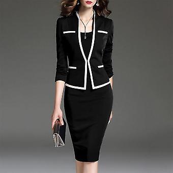 Autumn Two-piece Set Pockets Office Lady Dress Elegant Party Dresses Wear To
