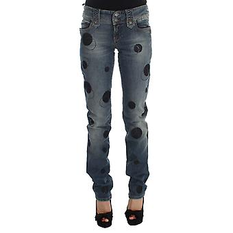 Galliano Blue Wash Cotton Blend Slim Fit Bootcut Circle Pattern Jeans