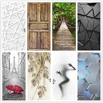 Scenery Wood Grain Door Sticker ( Set 1)