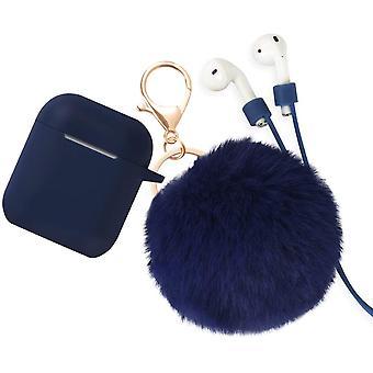 Silikoni ihon suojakotelo AirPods 2&1 kanssa anti-lost hihna, Turkis pallo avaimenperä, sininen (edessä LED näkyvissä)