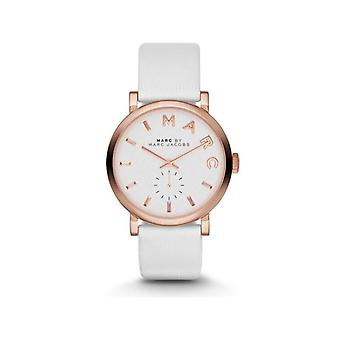 Marc Jacobs MBM1284 Baker White Dial White Leather Band Ladies Watch