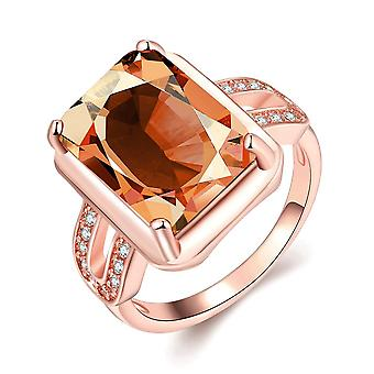 18k Rose Gold Plated Sophie Emerlad Cut Ring Made With Swarovski