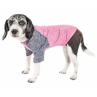 Haustier Leben aktiv 'Hybreed' 4-Wege-Stretch zweifarbige Performance Hund T-Shirt, rosa W / Marine - X-Large