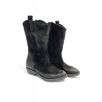 Women's Shoes Elite Texan Boot Embroidered In Suede Black Color D21el09