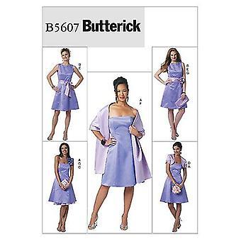 Butterick Syning Mønstre 5607 Misses Kjole Slip Skuldertræk Sjal Størrelse 6-12
