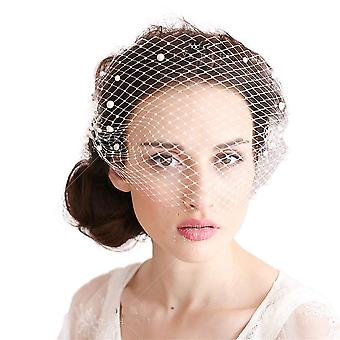 Pearl Large Mesh Headdress Short Veil Bride Cover Veil Dand-stitched Comb Hair Twigs