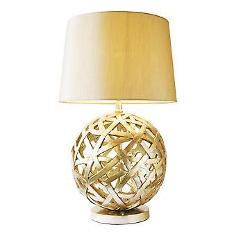 Lampada da tavolo completa di tonalità affusolata rotonda bronzo