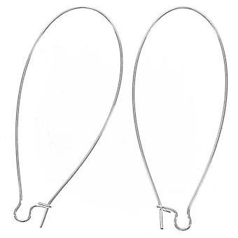 Slutrea - Silverpläterade örhängkrokar Njurtrådar Extra Extra Lång 2 tum (2 par)