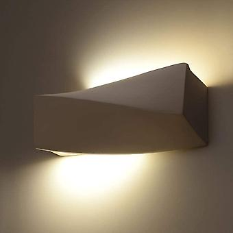 Alena Wandlampe aus Keramik in Weiß, 300 x 150mm | Wandbeleuchtung Design Wohnzimmer-Lampe Uplight