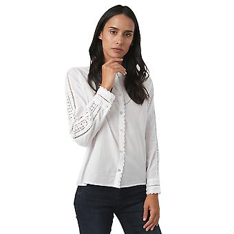 SHUUK Scallop Placket Collarless Prairie Shirt - Hip Length Clean Simple Design