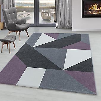 Stue Tæppe ONTARIO Kort bunke Blødt mønster Geometrisk Moderne