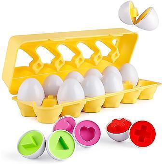 Vastaavat munat 12kpl asettaa väri & muoto palapeli oppiminen lapsille dt5807