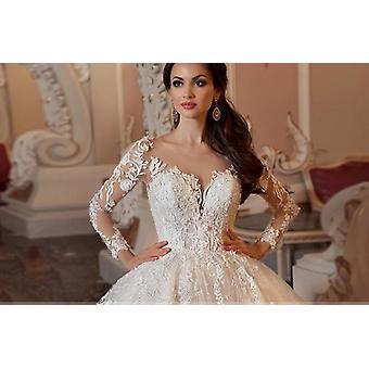 Robe de bal en dentelle, robe de mariée perlage à manches longues
