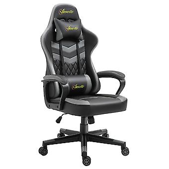 Vinsetto Racing Gaming Chair with Lumbar Support, Headrest, Swivel Wheel, PVC Leather Gamer Desk Chair for Home Office, Black Grey