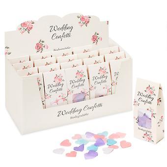 Caja de 20 Confeti de Corazones Pastel Biodegradables pack para bodas