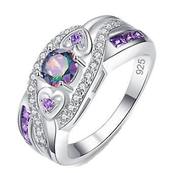 2PC לייטון נשים אופנה סגלגל לב צבעוני זירקון אמטיסט טבעת
