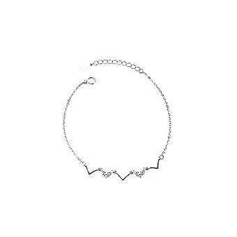 2PCS Silver plating Simple Personality Retro Wave Bracelet Fashion Gift Jewelry Birthday Party