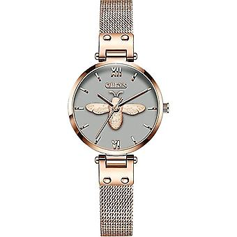 OLEVS 6895 Women Fashion Little Bee Milanese Wrist Strap Quartz Watch(Grey)