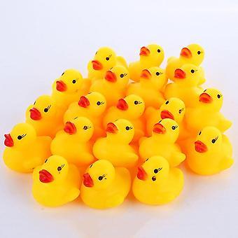 200pcs Cute Baby Bad Legetøj Flydende Squeeze Animal Gul Gummi Duck Legetøj Funny Badeænder