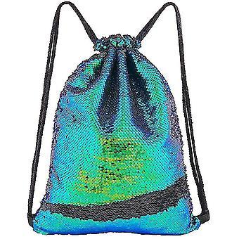 Sequin Drawstring Bag Flip Sequins Backpack Outdoor Sports Bag(Colorfulblack)