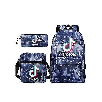 3szt Tik Tok Torba szkolna Plecak Torba na ramię dla chłopców dziewcząt