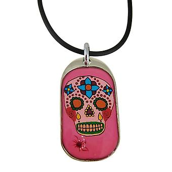 Pink DAY OF THE DEAD Skull Pendant / Rubber Necklace