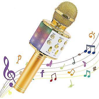 Drahtlose Karaoke Mikrofon Bluetooth Handheld Tragbarer Lautsprecher Home (Gold)