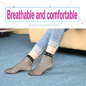 קוריאני אופנה נשים אורך הברך באמצע עגל מסמרת פישנט גרביים חלולות החוצה גרביים