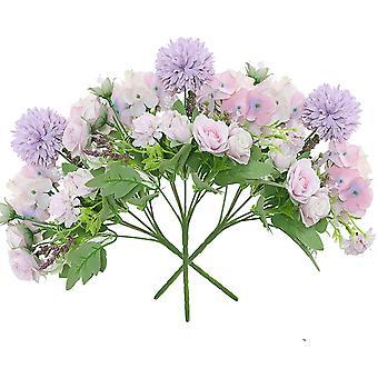 3 חתיכות של ורד הידרנג'אה ריון פרח ורד לבן קישוט אוניברסלי ללא אגרטל(ורוד)