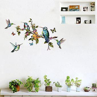 Farfalle colorate Uccelli Ramo Albero Modello Adesivi da parete 2 pezzi Carte da parete Adesivi murali fai-da-da-fi rimovibili Decorazioni per la stanza 27,6x9,8 pollici