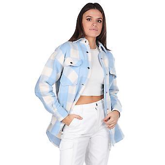 tykk plaid blå kvinners jakke