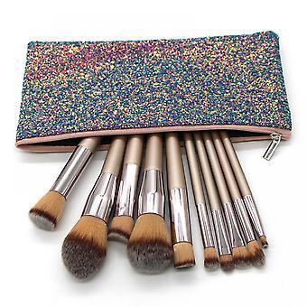 10pcs Champagne Color Makeup Brush Set Foundation Brush Soft Hair Beauty Tool