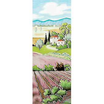 YH Arts Ceramic Wall Art, Lavender Fields 6 x 16