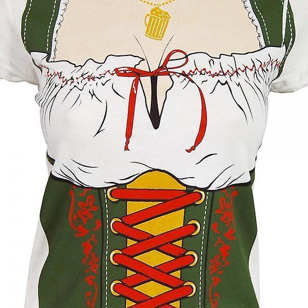 Oktoberfest Womens Fraulein Beer Festival Costume T Shirt blanc