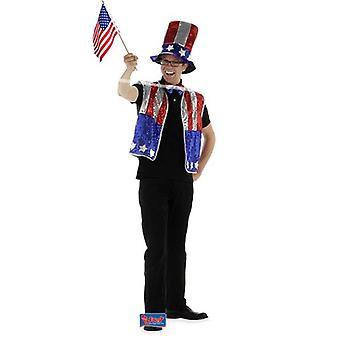Amerikan United valtioiden puku glitter 3-osainen Uncle Sam meille Amerikan Cosume