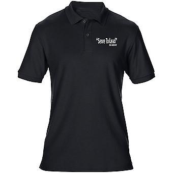 RMAS Sandhurst Motto palvella johtaa tekstin brodeerattu Logo - virkamies - Miesten poolopaita