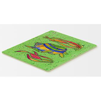 Carolines Treasures  8568CMT Tropical Fish on Green Kitchen or Bath Mat 20x30